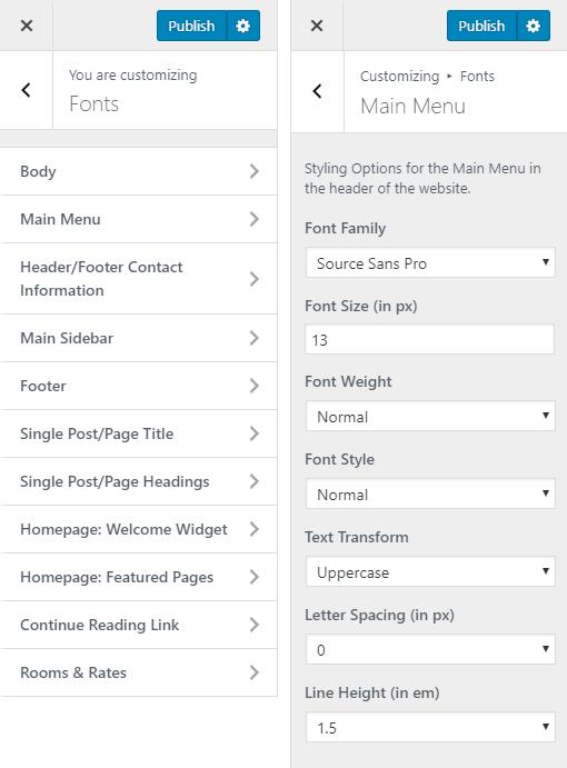 Ambassador Hotel WordPress Theme Preview: Screenshot of Customize Fonts