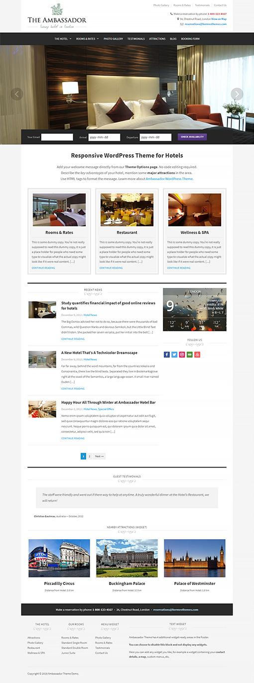 Ambassador Hotel WordPress Theme Preview: Full Screenshot of Homepage