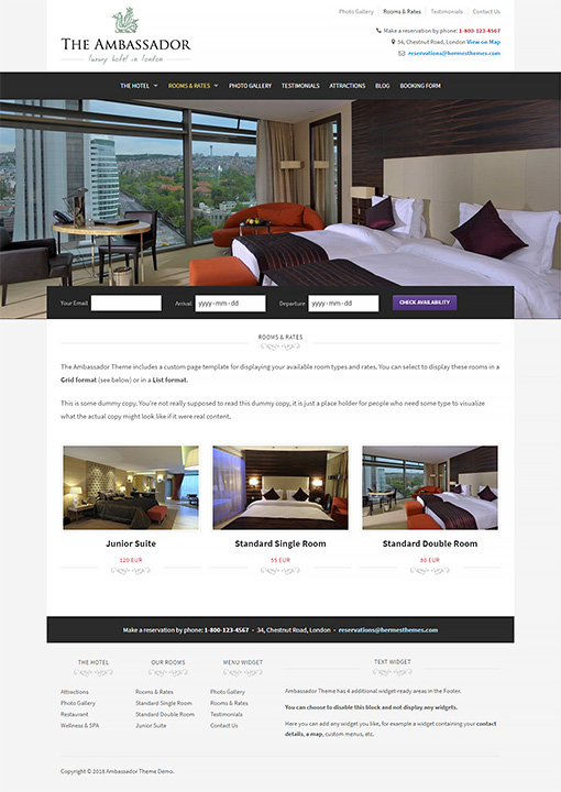 Ambassador Hotel WordPress Theme Preview: Screenshot of Rooms & Rates Page