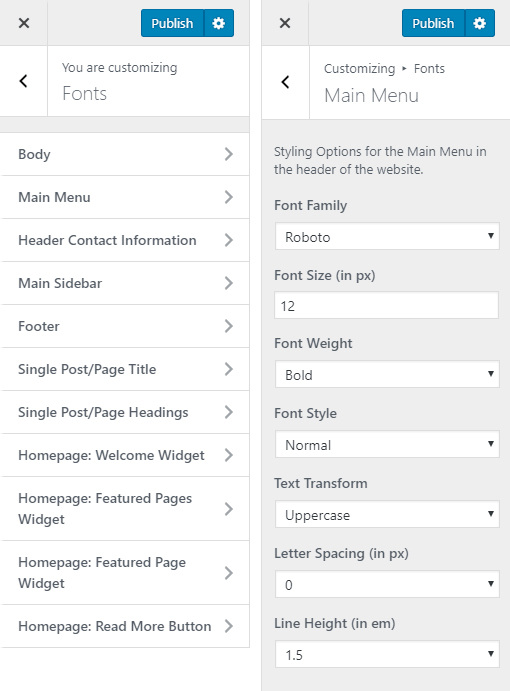 Arcadia Hotel WordPress Theme Preview: Screenshot of Customize Fonts