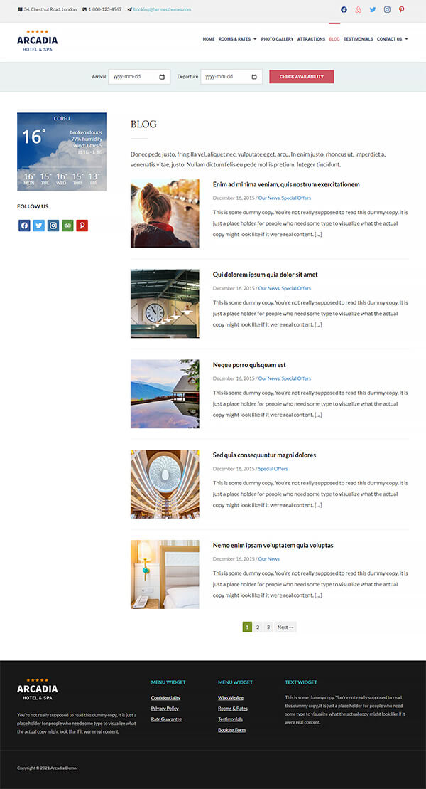 Arcadia Hotel WordPress Theme Preview: Screenshot of Rooms & Rates Page