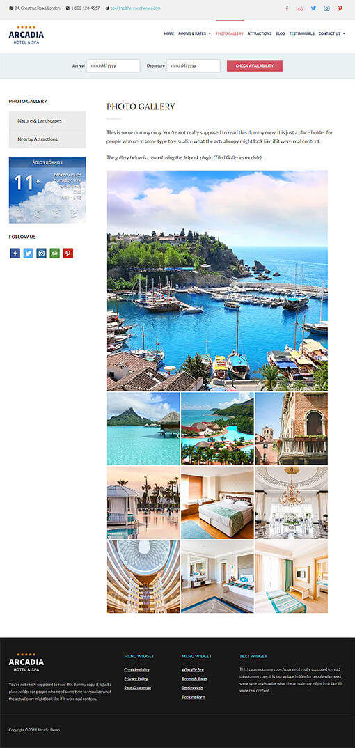 Arcadia Hotel WordPress Theme Preview: Full Screenshot of Homepage