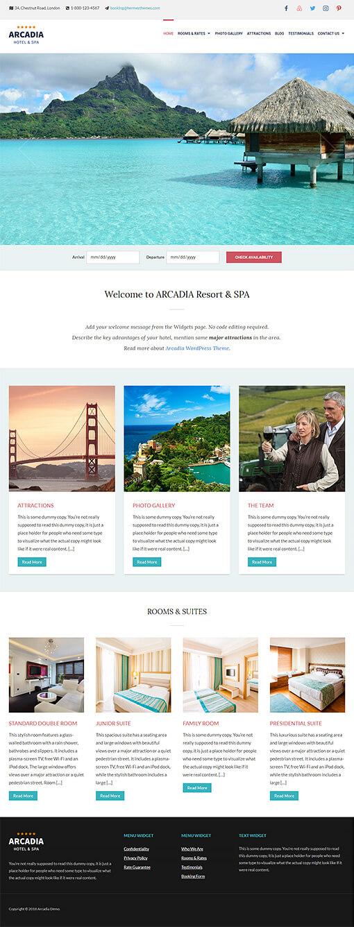 Arcadia Hotel WordPress Theme Preview: Full Screenshot of Homepage