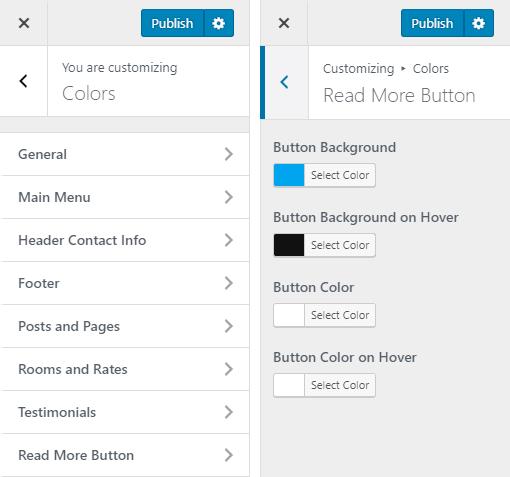 Aurora Hotel WordPress Theme Preview: Screenshot of Customize Colors