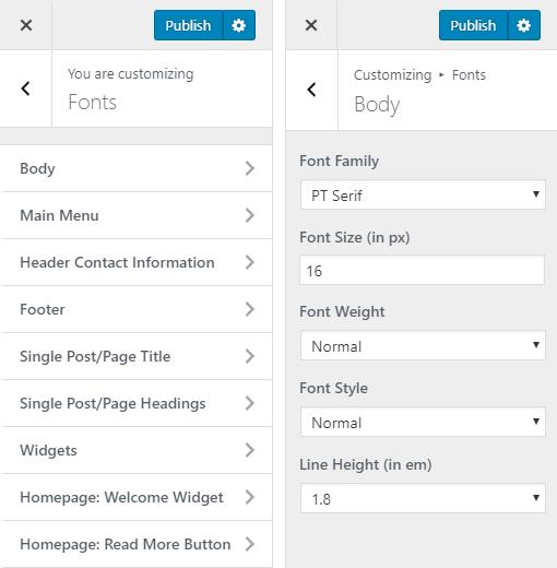 Aurora Hotel WordPress Theme Preview: Screenshot of Customize Fonts