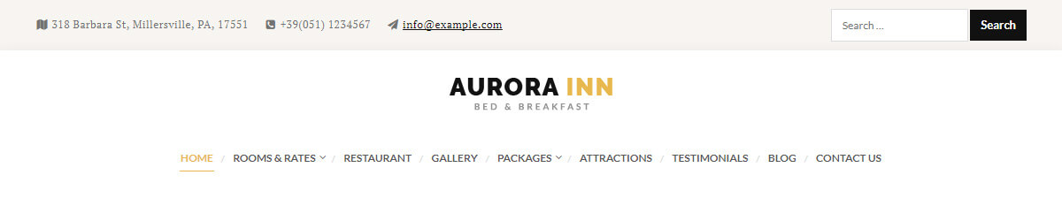 Aurora Hotel WordPress Theme Preview: Screenshot of Header Style 2