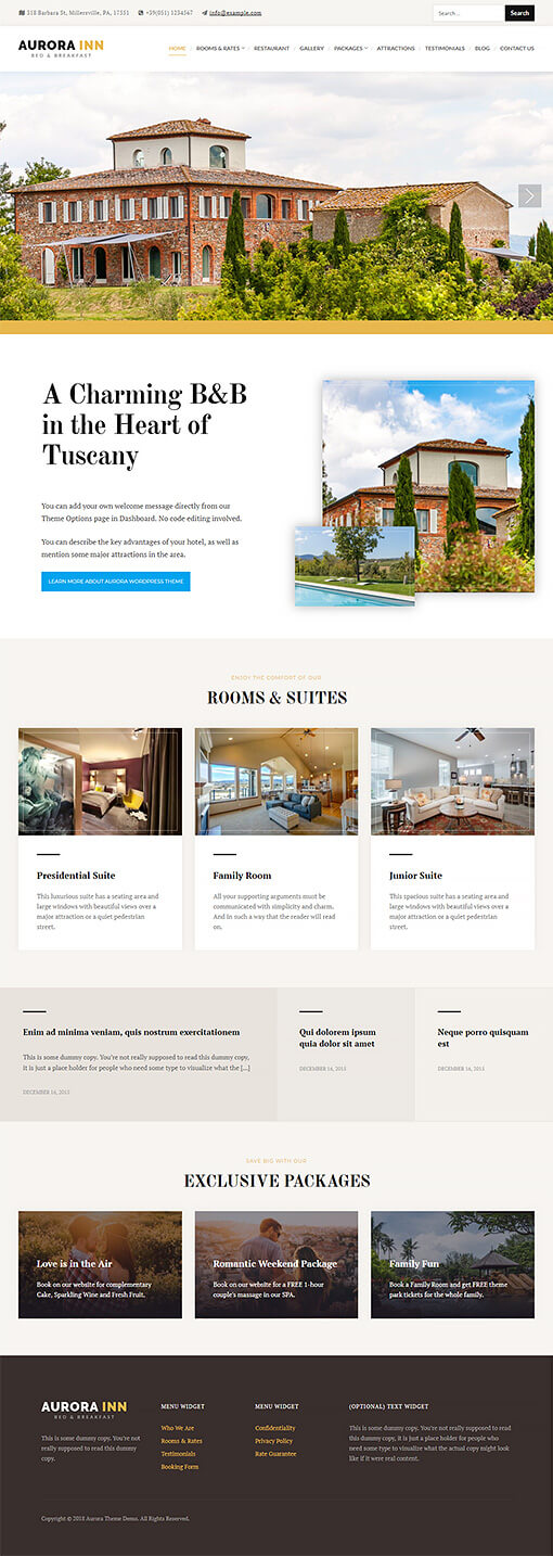 Aurora Hotel WordPress Theme Preview: Full Screenshot of Homepage