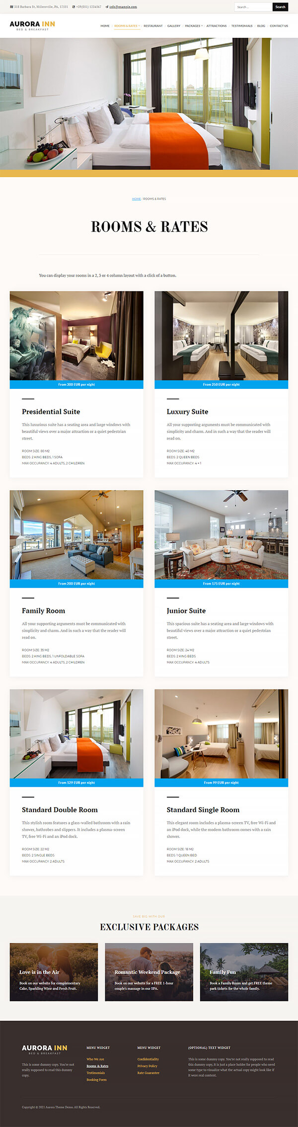 Aurora Hotel WordPress Theme Preview: Screenshot of Rooms & Rates Page