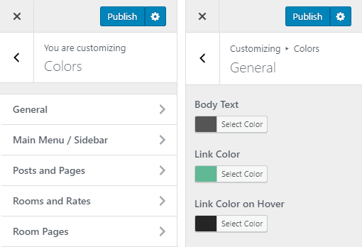 Belafonte Hotel WordPress Theme Preview: Screenshot of Customize Colors