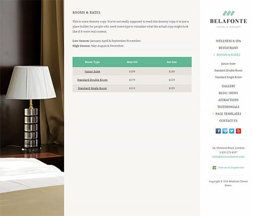 Belafonte Hotel WordPress Theme Preview: Screenshot of Rooms & Rates Page
