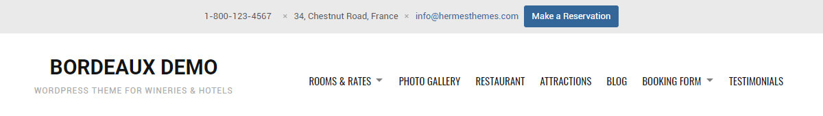 Bordeaux Hotel WordPress Theme Preview: Screenshot of Header Style 1