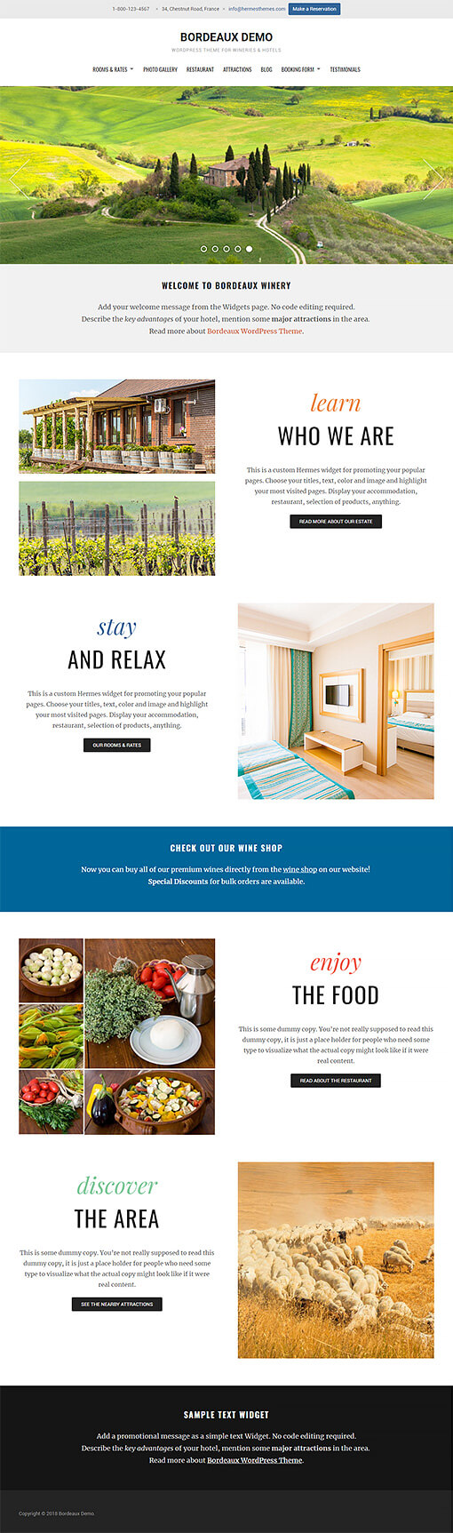 Bordeaux Hotel WordPress Theme Preview: Full Screenshot of Homepage