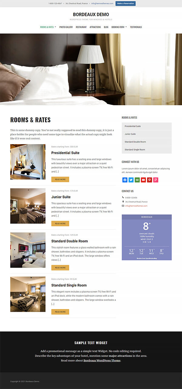 Bordeaux Hotel WordPress Theme Preview: Screenshot of Rooms & Rates Page