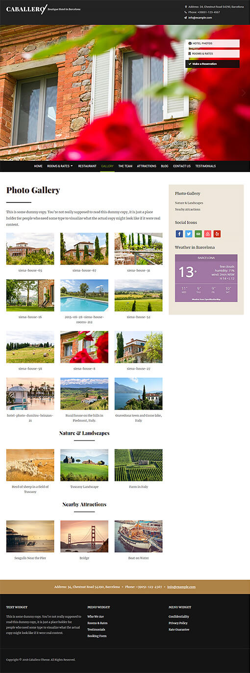 Caballero Hotel WordPress Theme Preview: Full Screenshot of Homepage