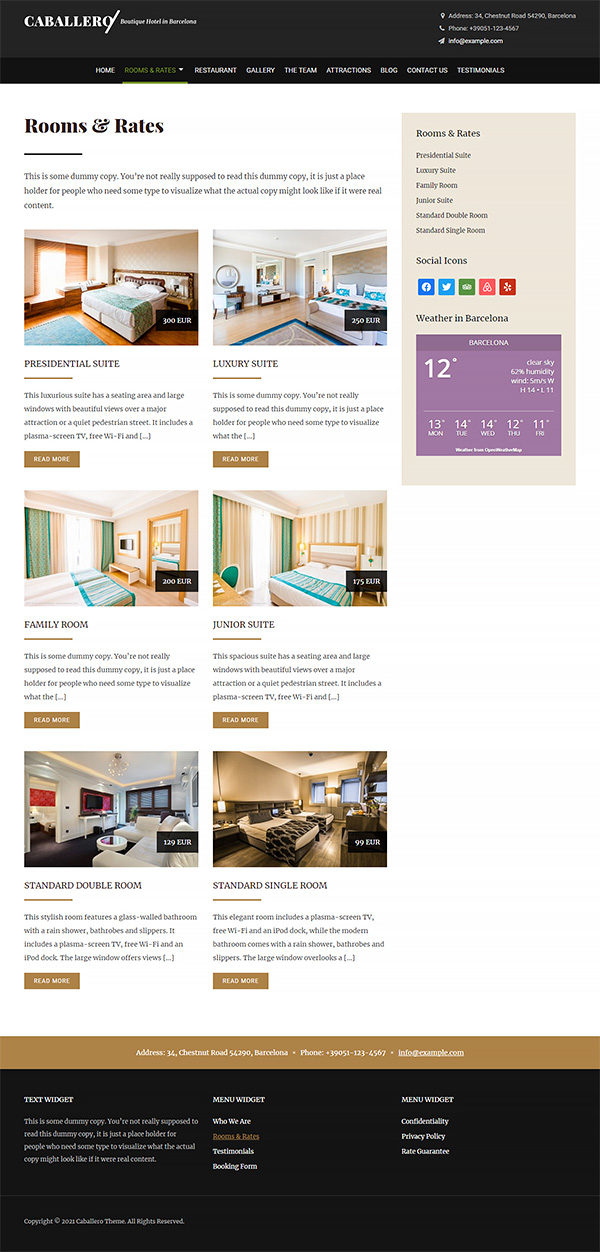 Caballero Hotel WordPress Theme Preview: Screenshot of Rooms & Rates Page