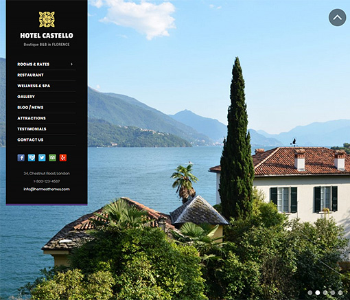 Castello Hotel WordPress Theme Preview: Full Screenshot of Homepage