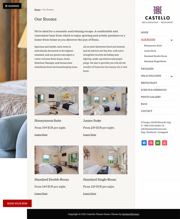Castello Hotel WordPress Theme Preview: Screenshot of Rooms & Rates Page