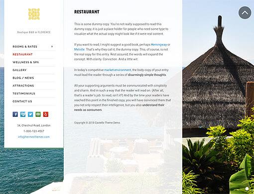 Castello Hotel WordPress Theme Preview: Full Screenshot of White Palette
