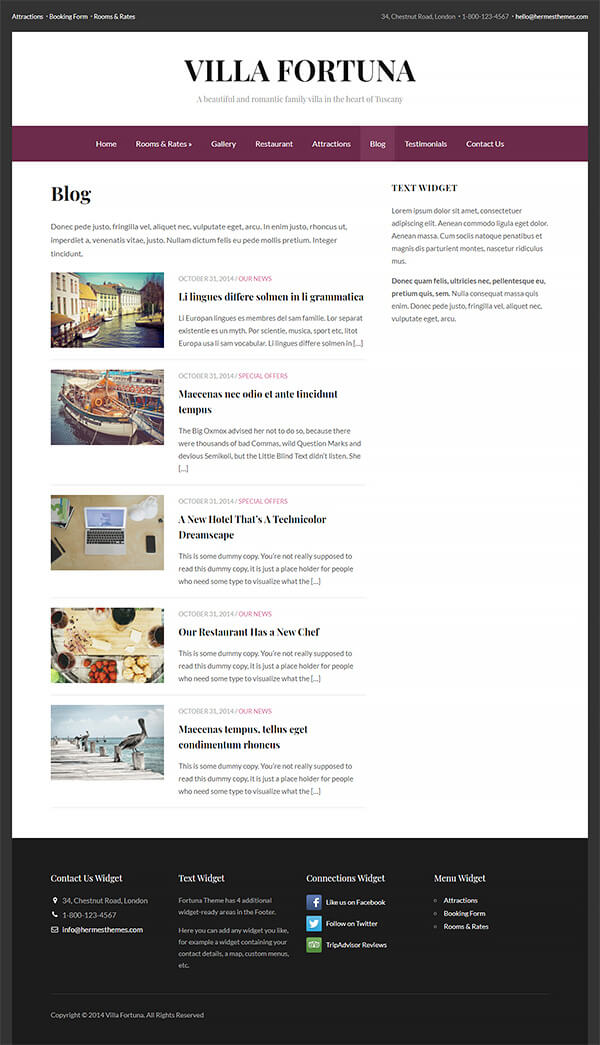 Fortuna Hotel WordPress Theme Preview: Screenshot of Rooms & Rates Page