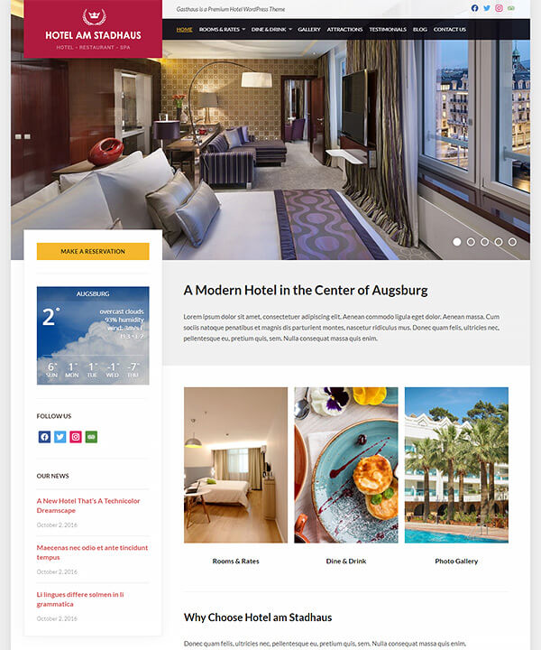 Screenshot of Gasthaus WordPress Theme