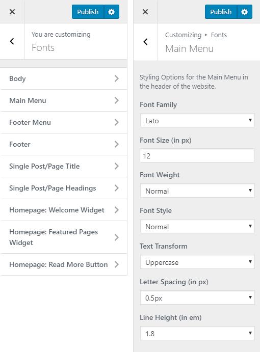 Gasthaus Hotel WordPress Theme Preview: Screenshot of Customize Fonts
