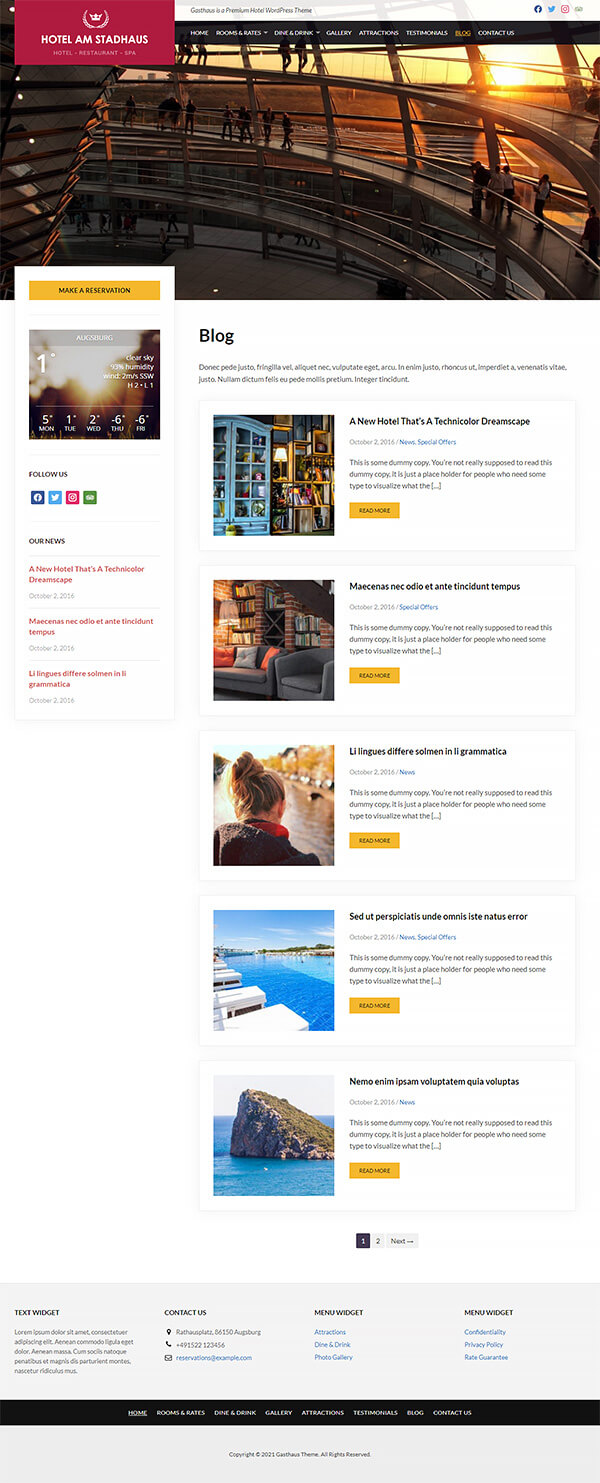 Gasthaus Hotel WordPress Theme Preview: Screenshot of Rooms & Rates Page