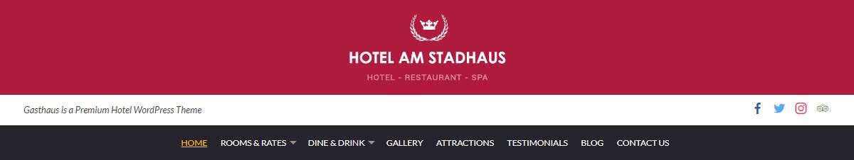 Gasthaus Hotel WordPress Theme Preview: Screenshot of Header Style 2