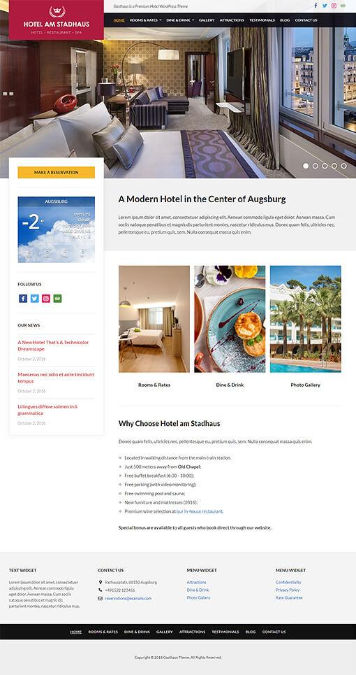 Gasthaus Hotel WordPress Theme Preview: Full Screenshot of Homepage