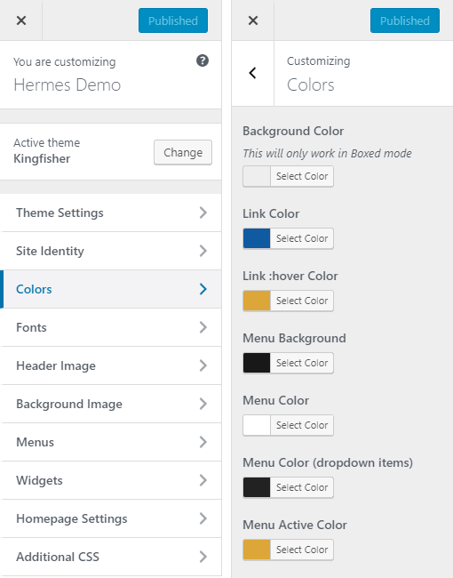 Kingfisher Hotel WordPress Theme Preview: Screenshot of Customize Colors