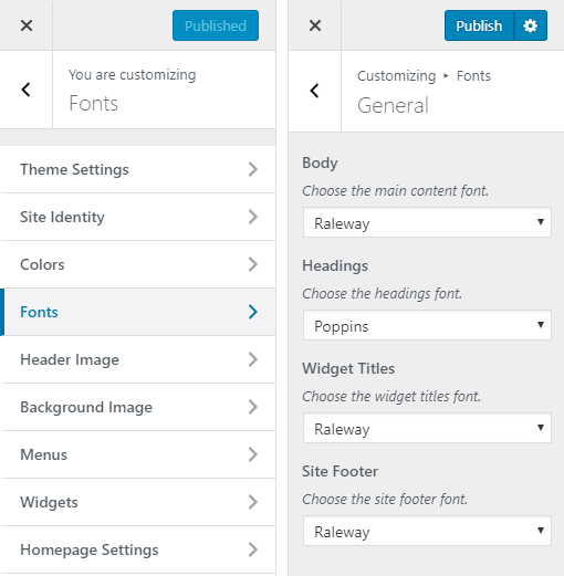 Kingfisher Hotel WordPress Theme Preview: Screenshot of Customize Fonts