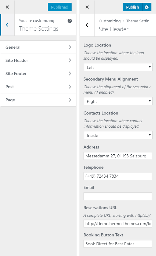 Kingfisher Hotel WordPress Theme Preview: Screenshot of Theme Settings