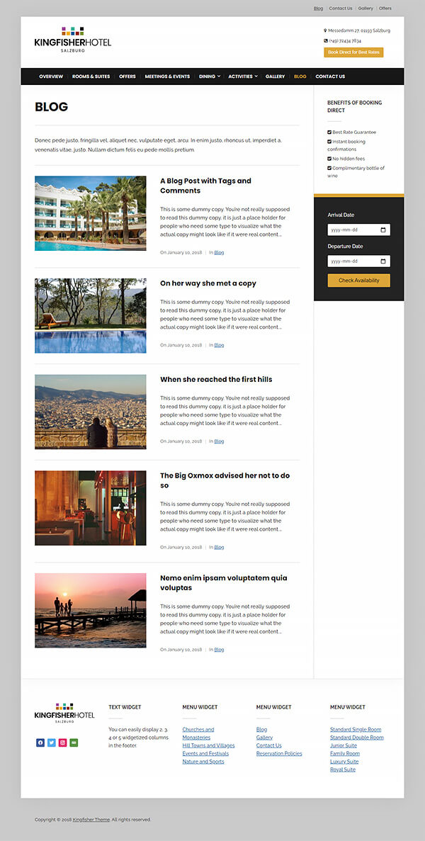 Kingfisher Hotel WordPress Theme Preview: Screenshot of Blog Page
