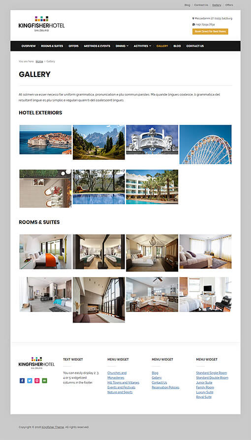 Kingfisher Hotel WordPress Theme Preview: Full Screenshot of Gallery page