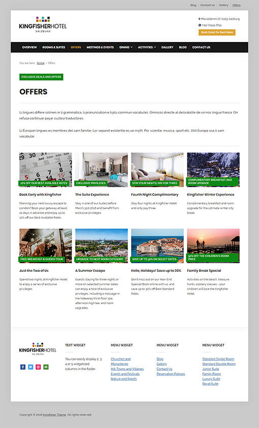 Kingfisher Hotel WordPress Theme Preview: Full Screenshot of Homepage