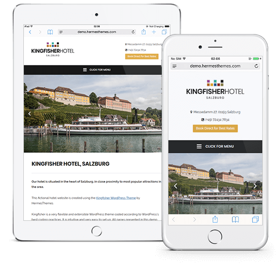 Kingfisher Hotel WordPress Theme Preview: Full Screenshot of Responsive Design