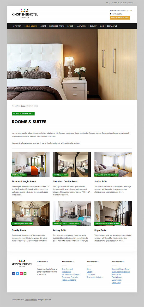 Kingfisher Hotel WordPress Theme Preview: Screenshot of Rooms & Rates Page