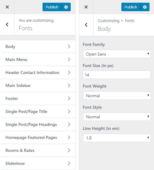 Leonardo Hotel WordPress Theme Preview: Screenshot of Customize Fonts