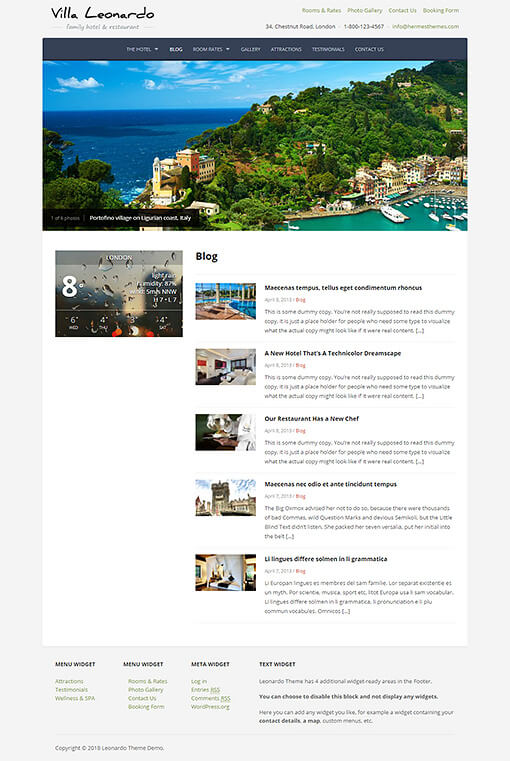 Leonardo Hotel WordPress Theme Preview: Screenshot of Rooms & Rates Page