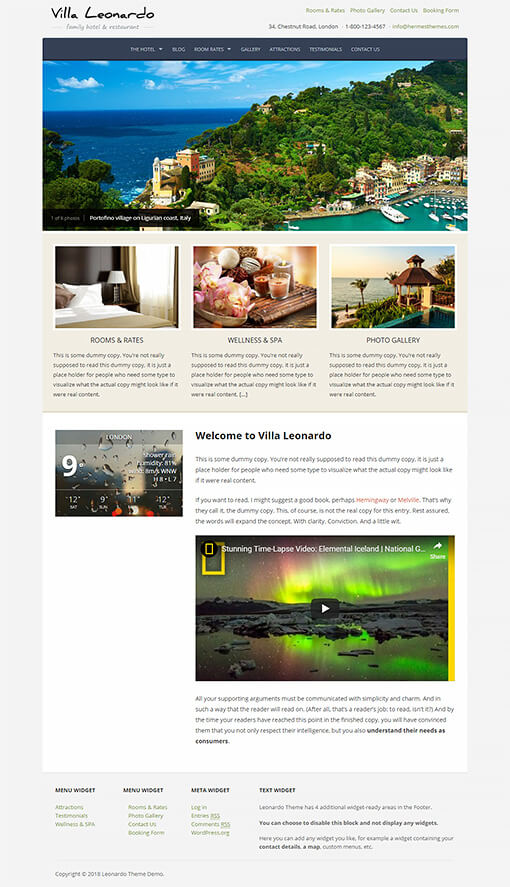 Leonardo Hotel WordPress Theme Preview: Full Screenshot of Homepage