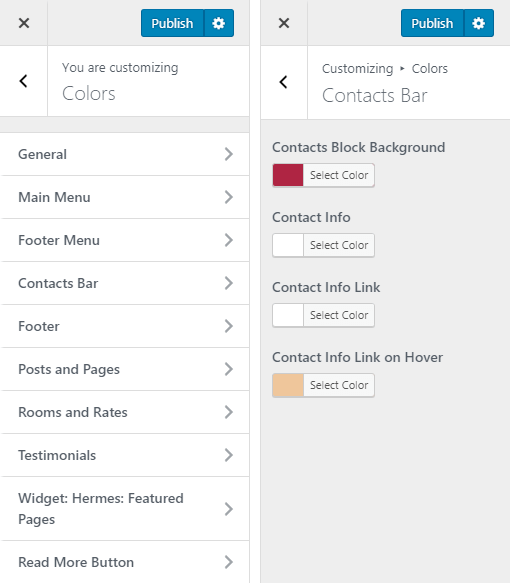 Mammoth Hotel WordPress Theme Preview: Screenshot of Customize Colors