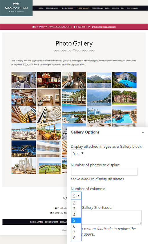 Mammoth Hotel WordPress Theme Preview: Full Screenshot of Homepage