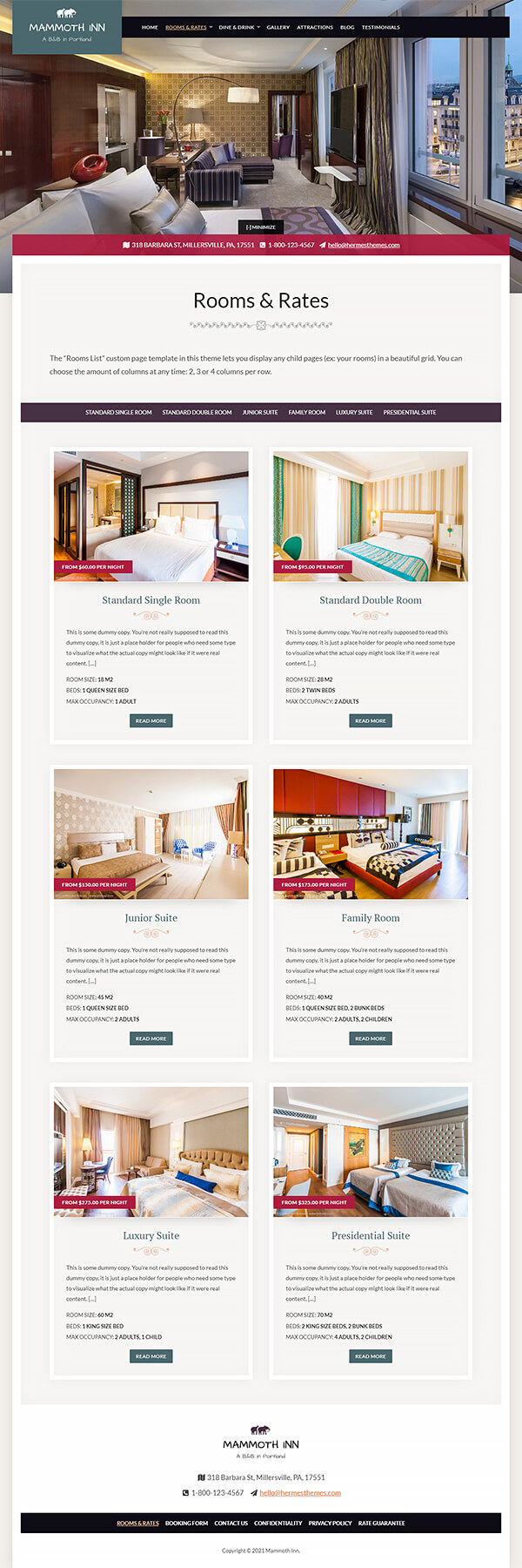 Mammoth Hotel WordPress Theme Preview: Screenshot of Rooms & Rates Page