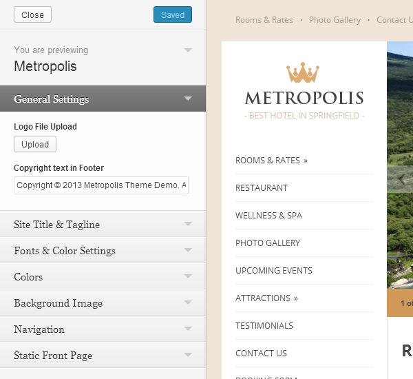 Metropolis Theme Customization