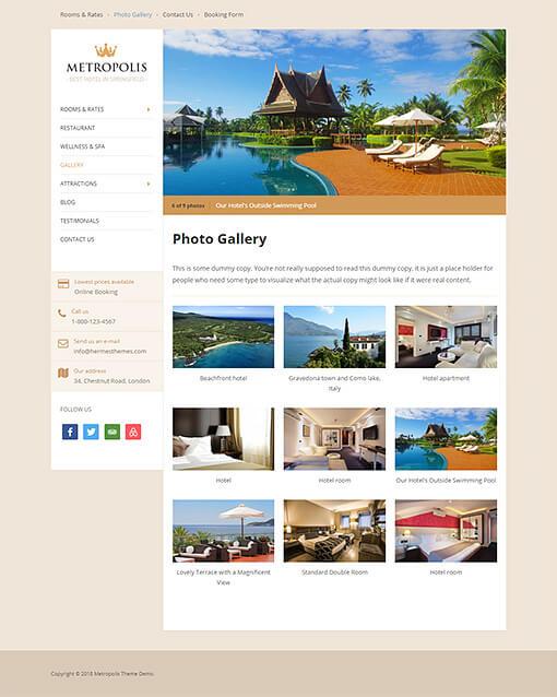 Metropolis Hotel WordPress Theme Preview: Full Screenshot of Homepage