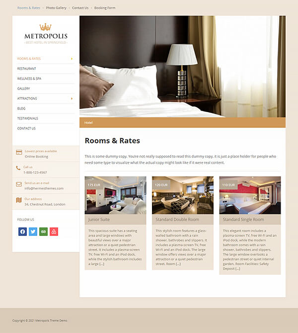 Metropolis Hotel WordPress Theme Preview: Screenshot of Rooms & Rates Page
