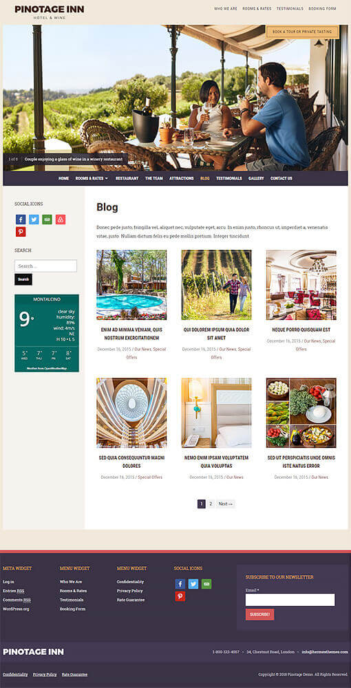 Pinotage Hotel WordPress Theme Preview: Screenshot of Rooms & Rates Page