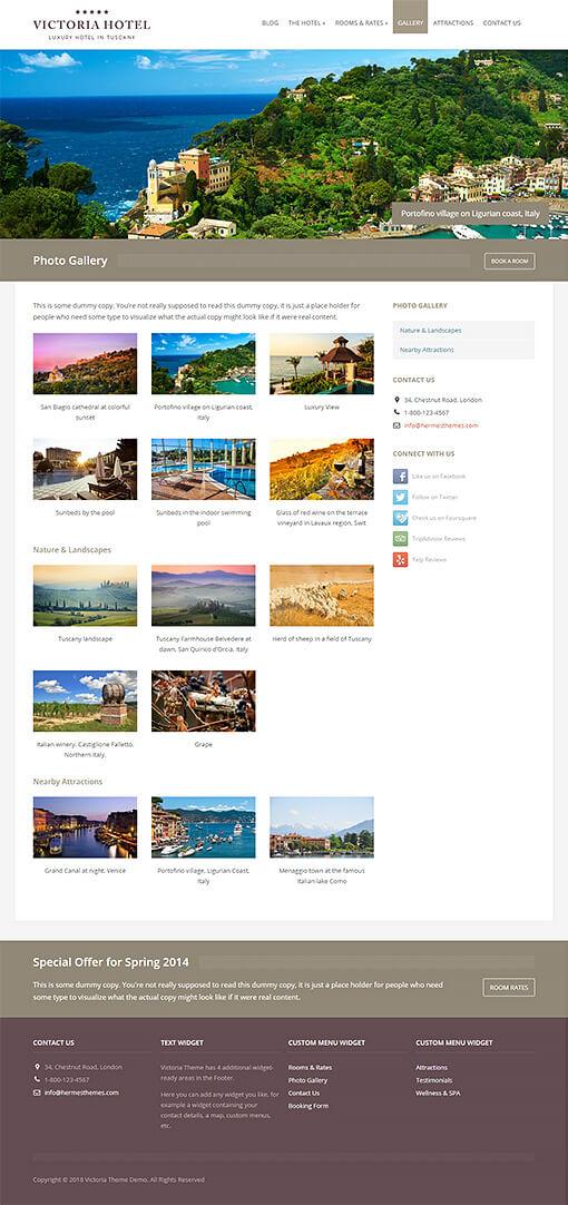 Victoria Hotel WordPress Theme Preview: Full Screenshot of Homepage
