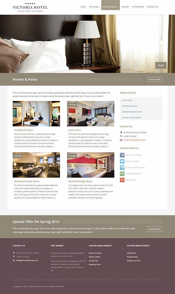 Victoria Hotel WordPress Theme Preview: Screenshot of Rooms & Rates Page