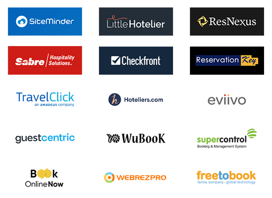 A collection of logos of booking engines and property management software
