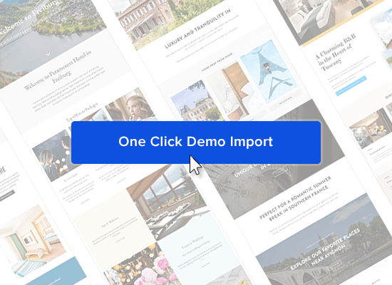 Thumbnail for the One Click Demo Import feature